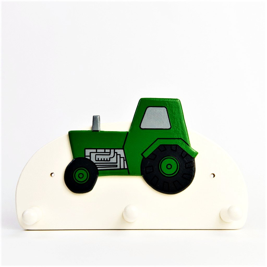 children's green tractor coat wall hook