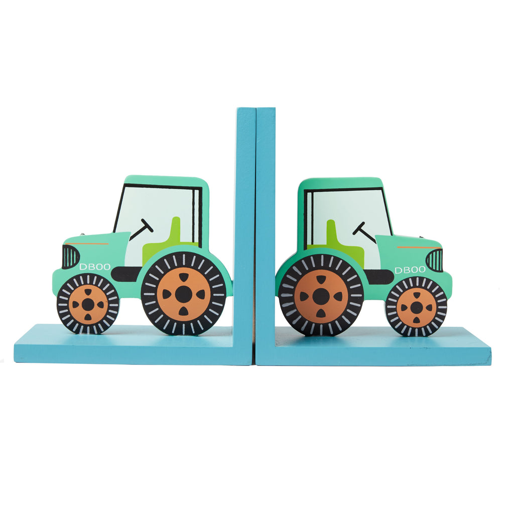 childrens green tractor bookends