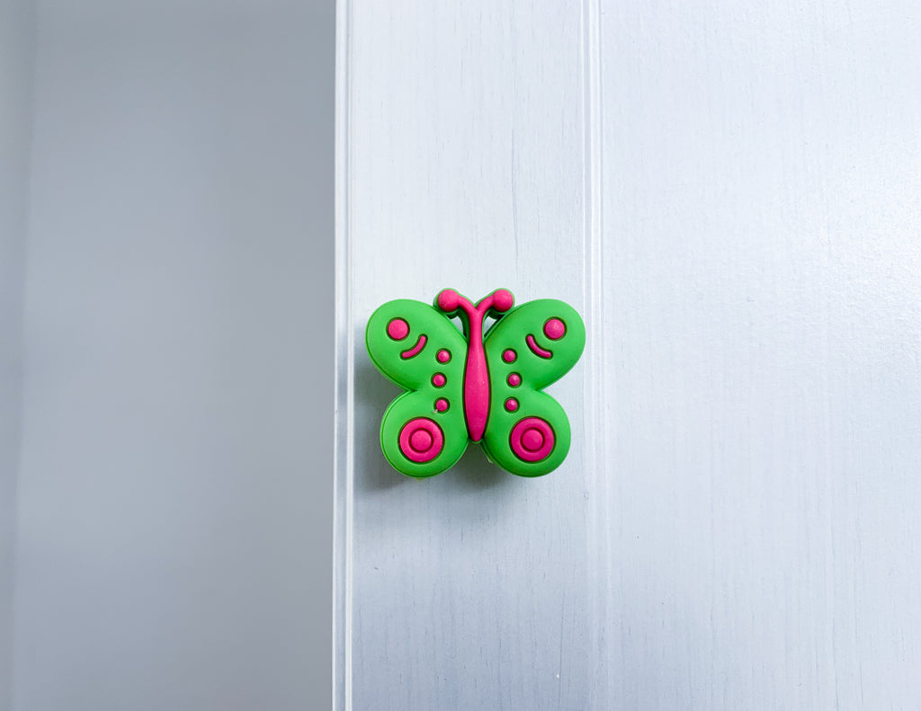 Green & Pink Butterfly Door / Drawer Knob