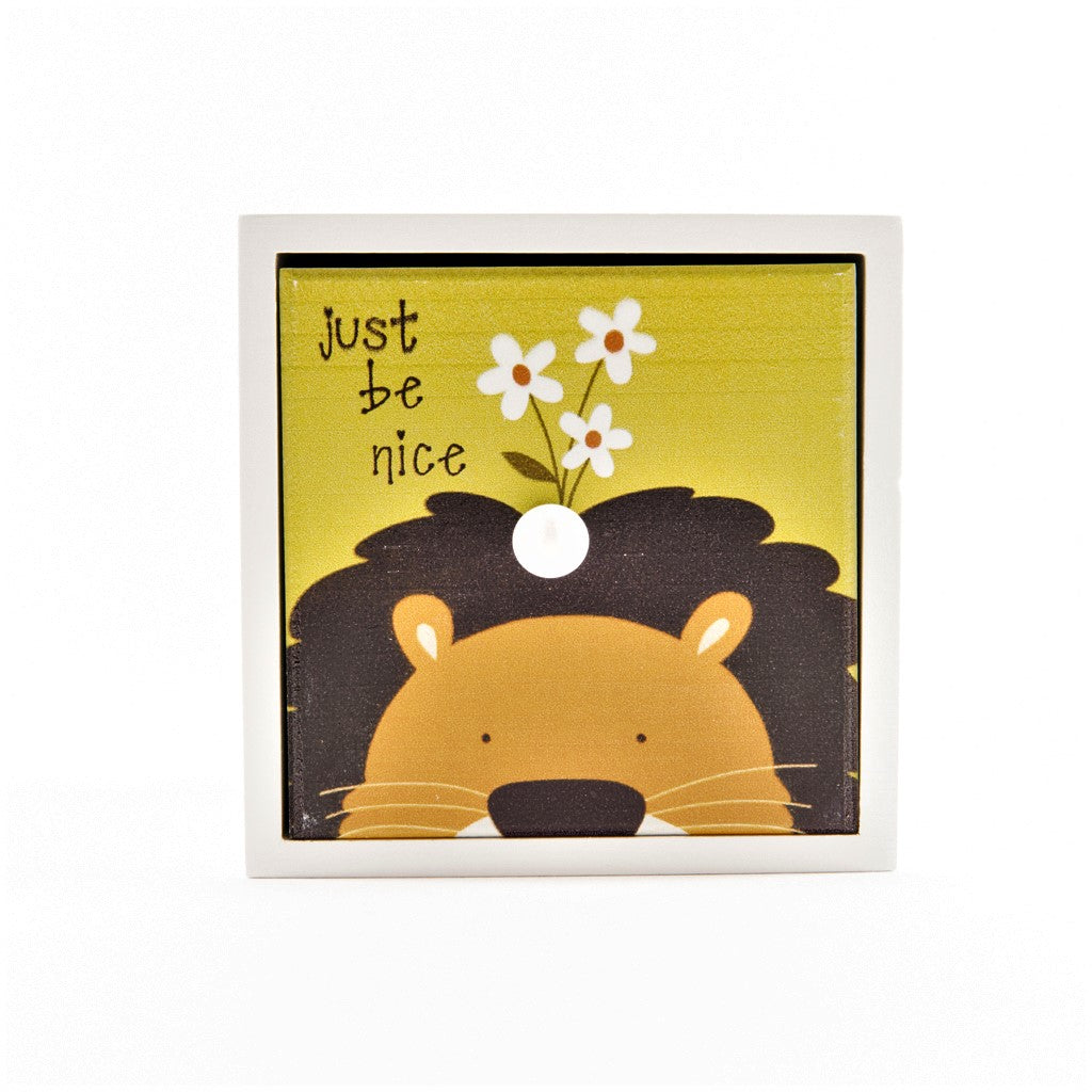 children's lion just be nice jungle storage cube