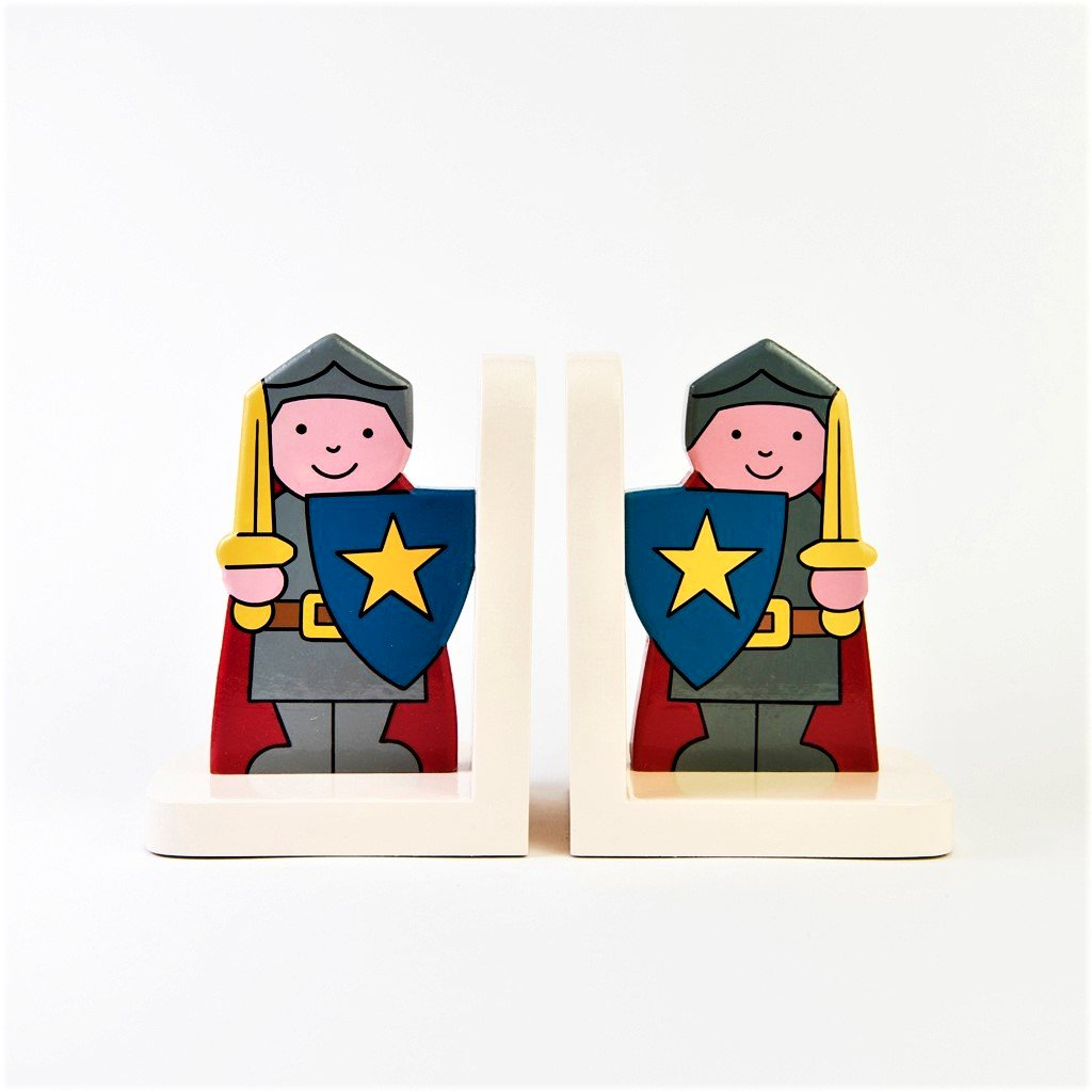 children's wooden knights bookends