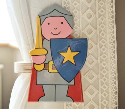 childrens wooden knights curtain tie backs