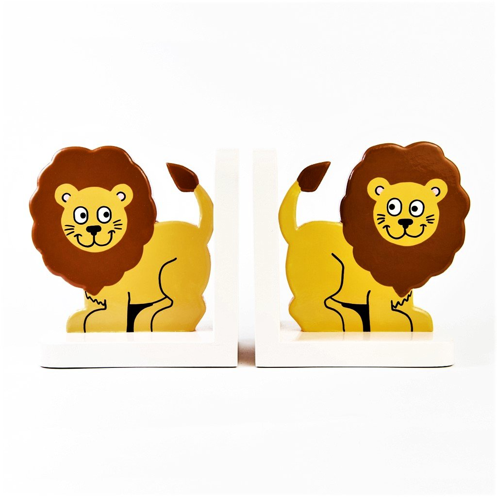 children's wooden lion bookends