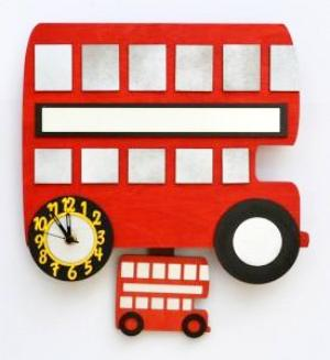 childrens london bus pendulum wall clock
