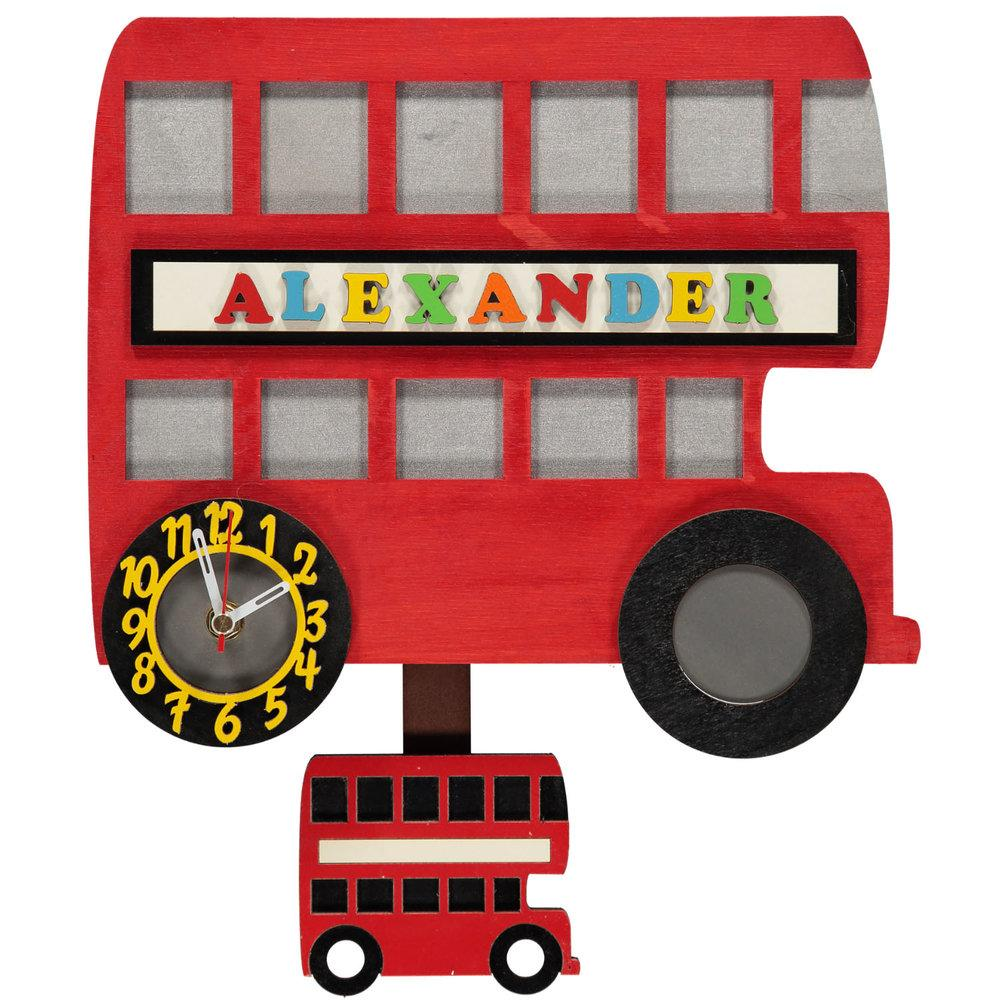 childrens london red bus pendulum clock