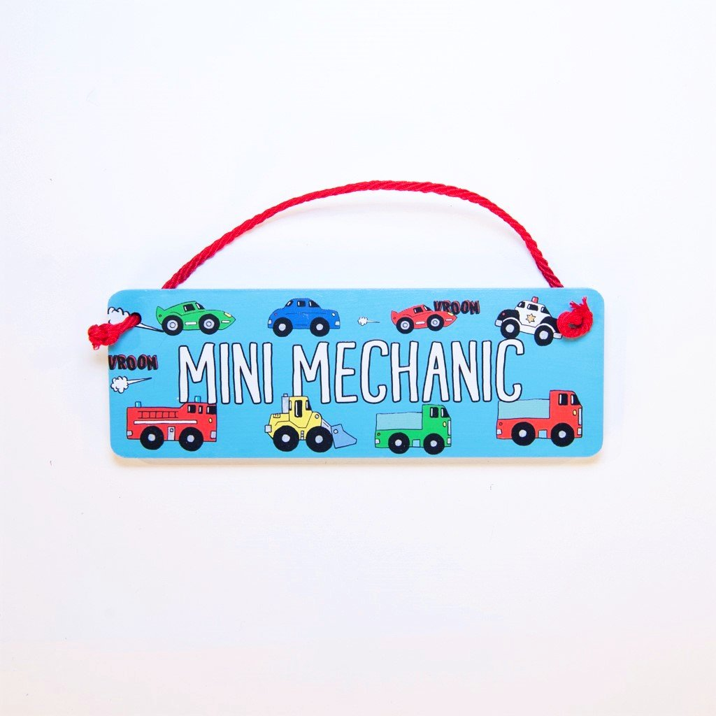 children's mini mechanic door plaque