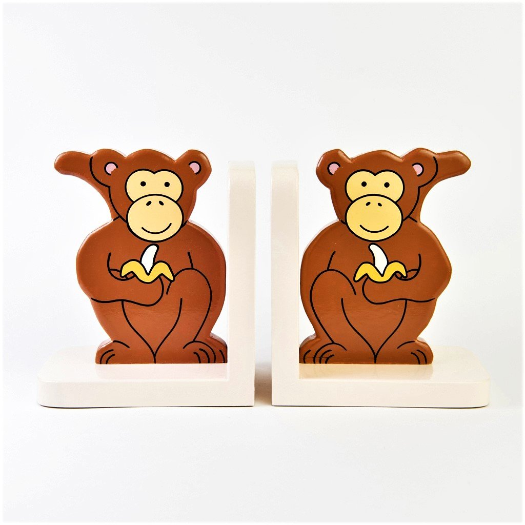 children's wooden monkey bookends