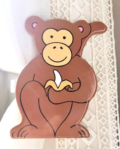 childrens wooden monkey curtain tie backs