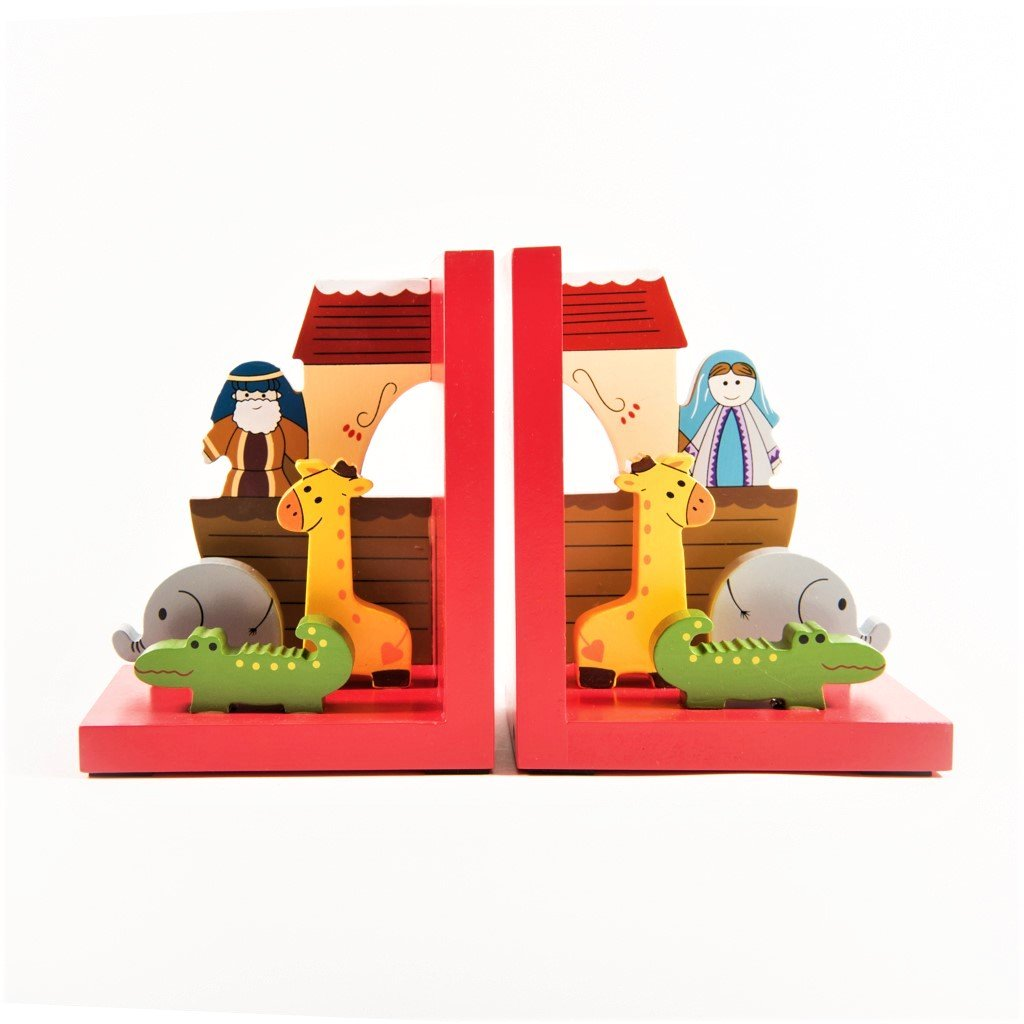 children's  wooden noah's ark bookends