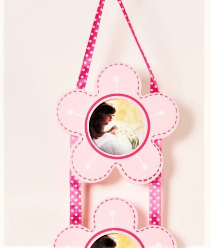 children's pink flower photo frame set