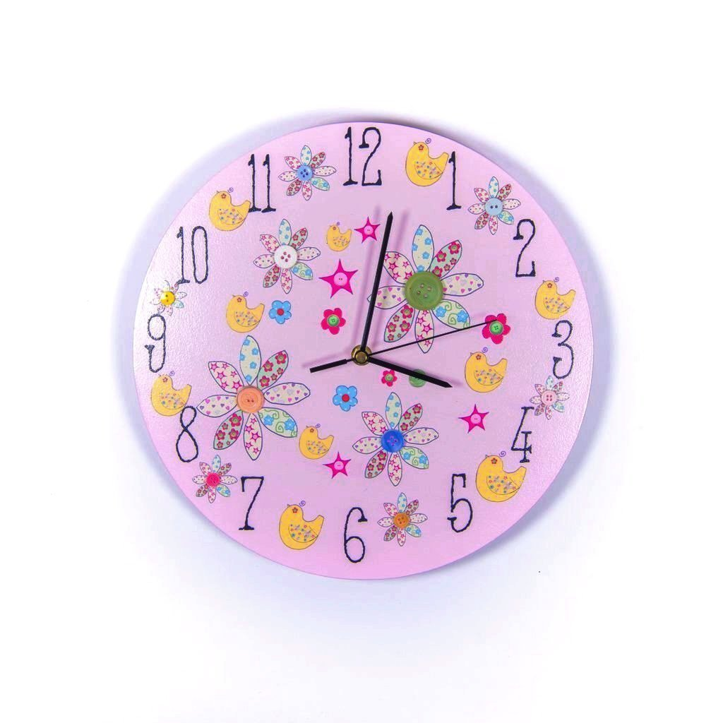 childrens pink flower wall clock