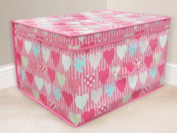 Childrens Pink Hearts Storage Box