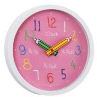 childrens pink pencils wall clock