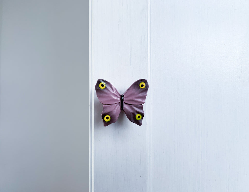 Pink Butterfly Door / Drawer Knob