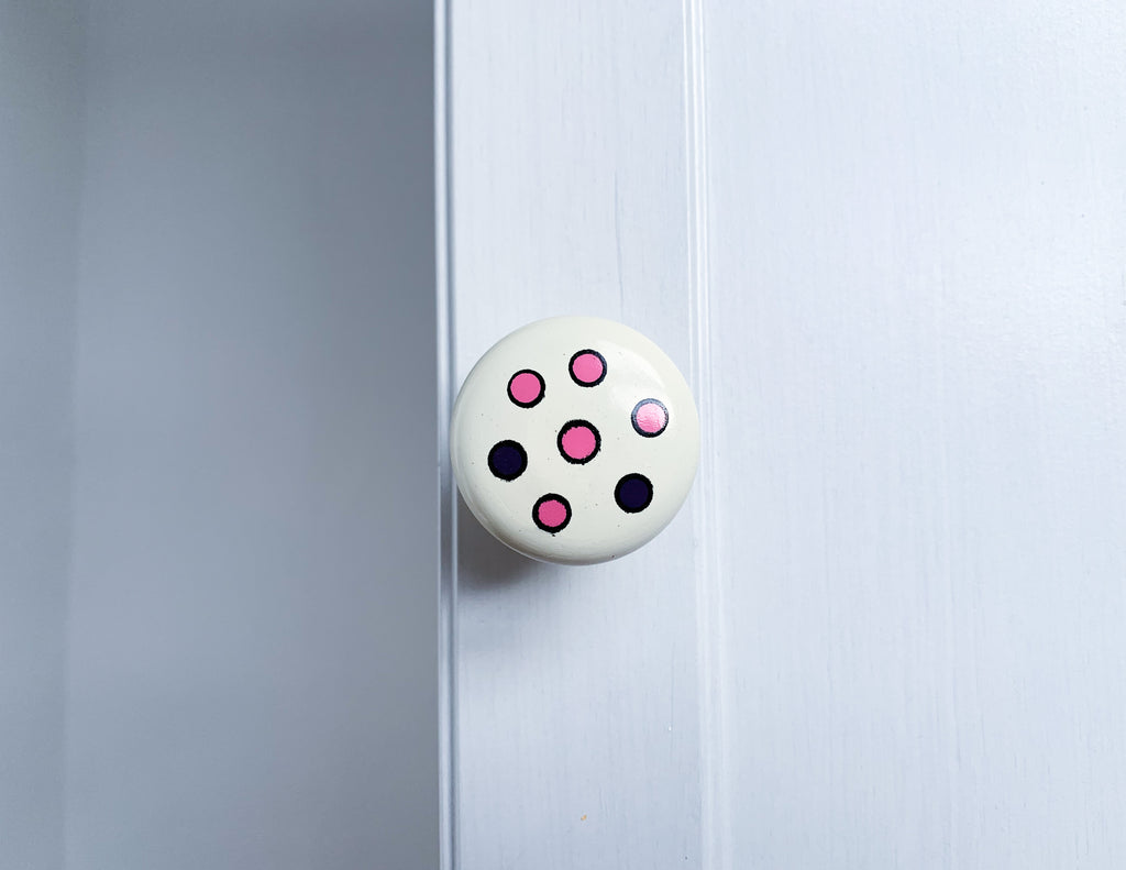 Pink & Purple Spots Door Knob