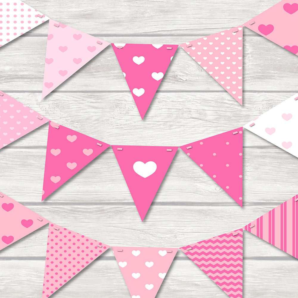 Pretty hearts bunting for any bedroom with different shaped hearts in different shades of pink