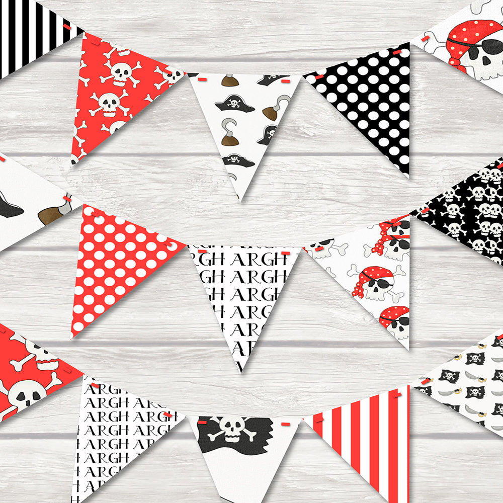 Fun and bright pirate bunting for childrens rooms featuring skull and crossbones