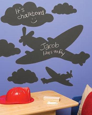 children's aeroplane and clouds chalkboard wall stickers