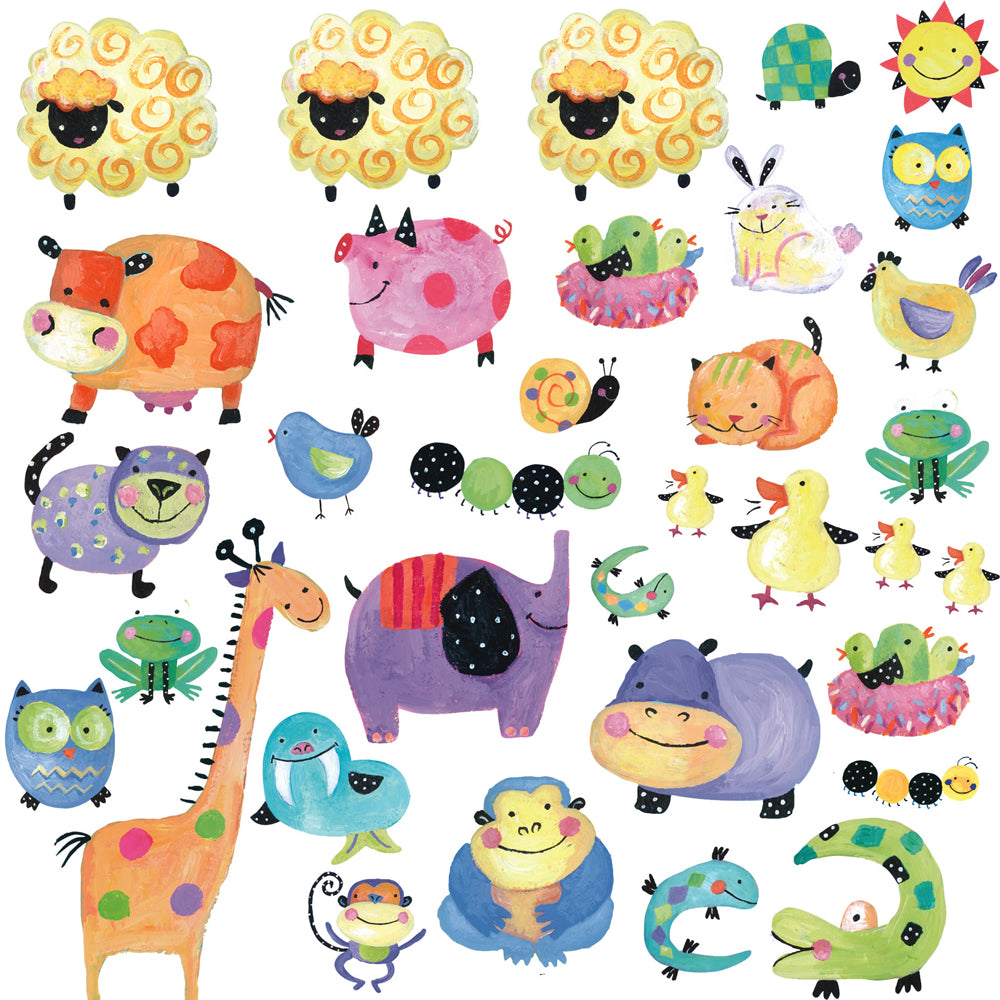 children's polka dot piggy farmyard walls stickers