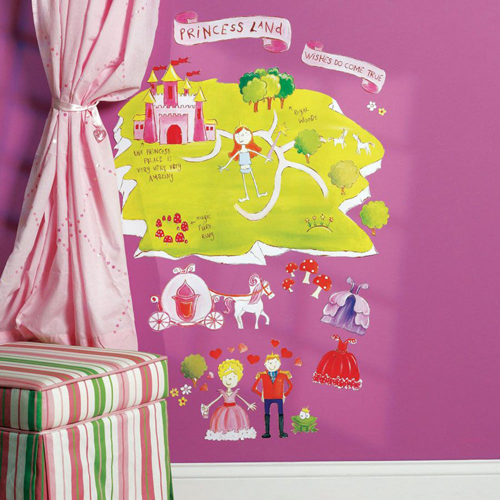 children's princess land wall stickers
