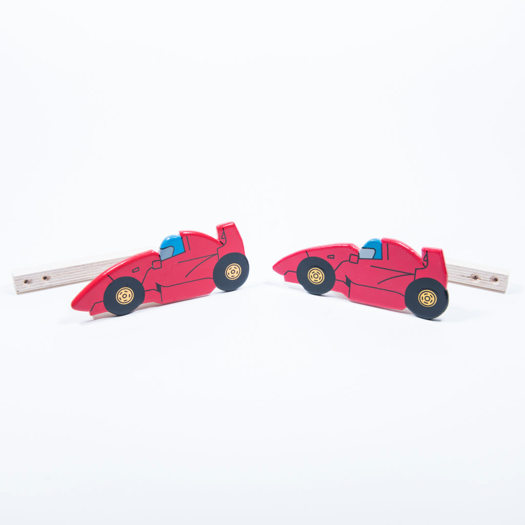 childrens wooden red racing car curtain tie backs