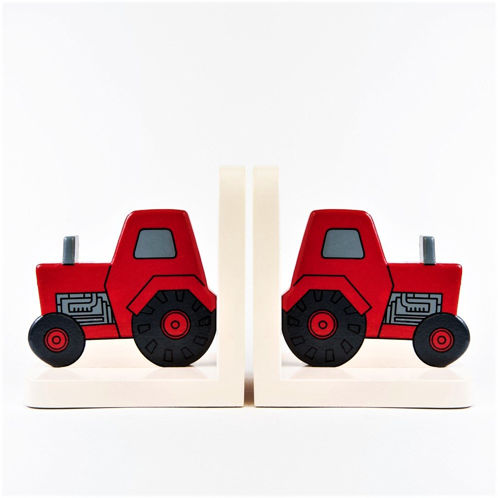 children's wooden red tractor bookends