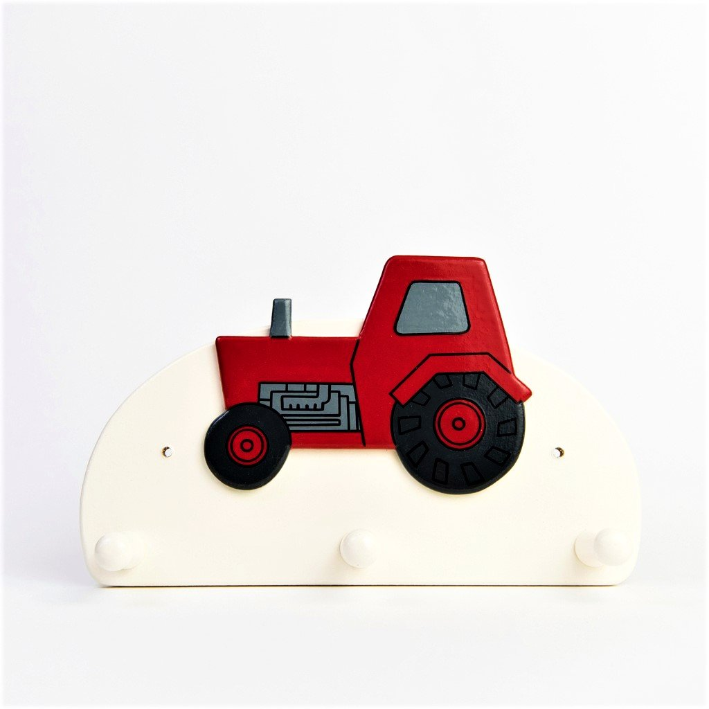 children's red tractor triple coat wall hook