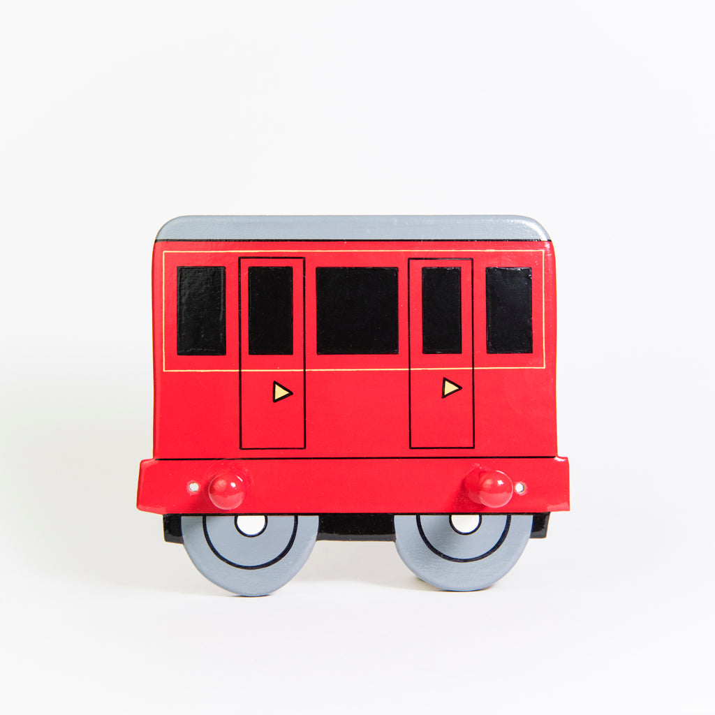 children's red train and coach coat wall hooks