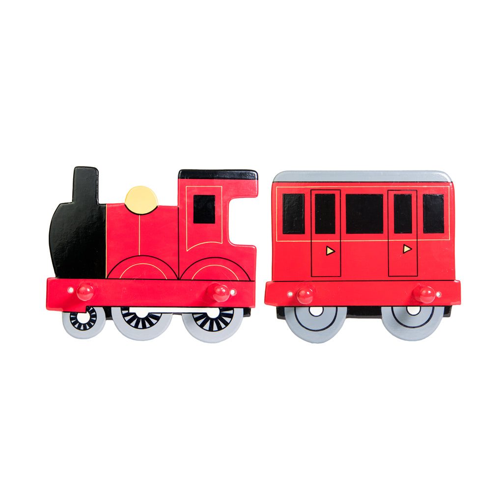 children's red train and coach coat hooks