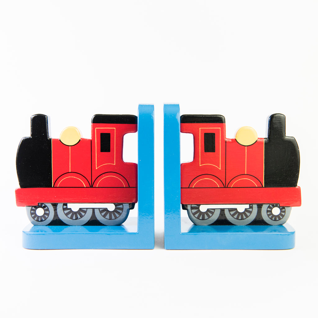 children's wooden red train bookends