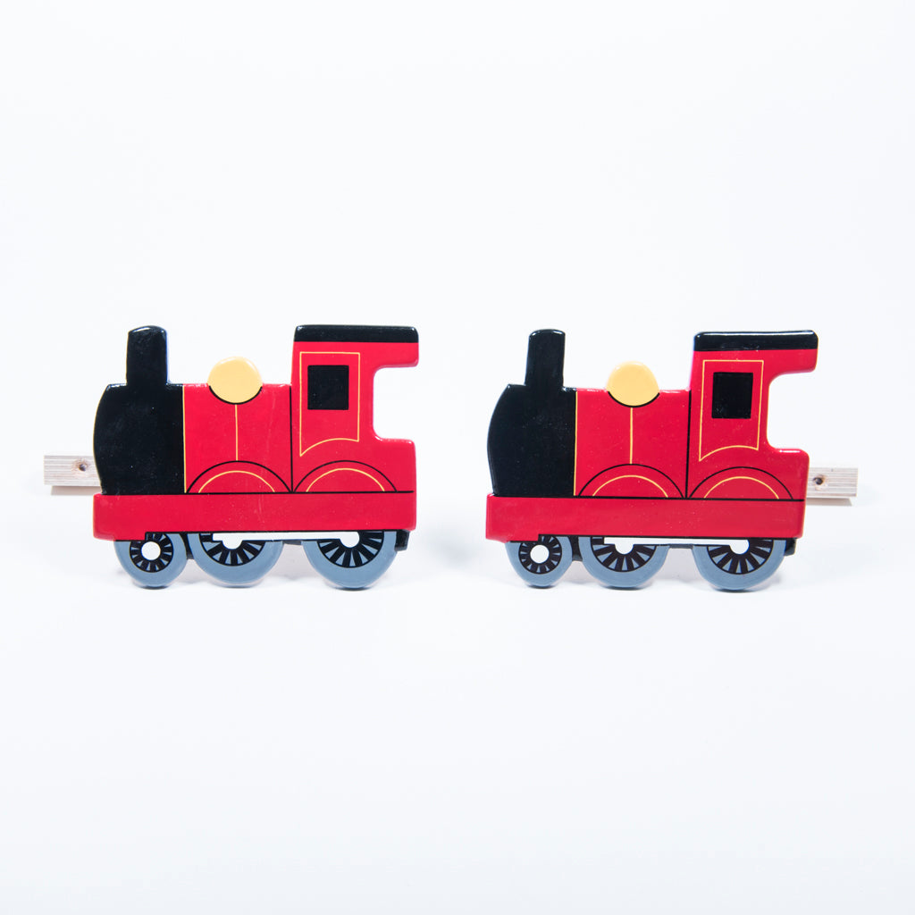 childrens wooden red train curtain tie backs