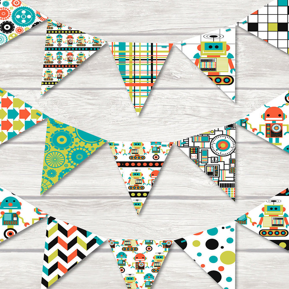 Fun robot bunting for children's rooms featuring lots of friendly robots