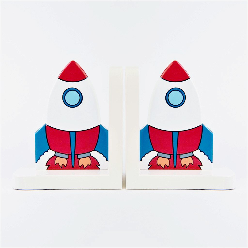 children's wooden rocket bookends