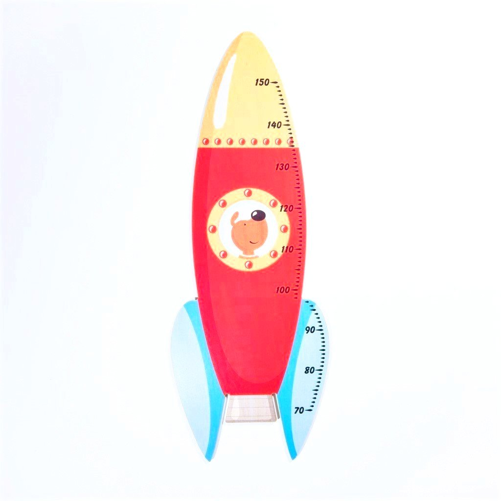 childrens wooden space rocket ship height chart