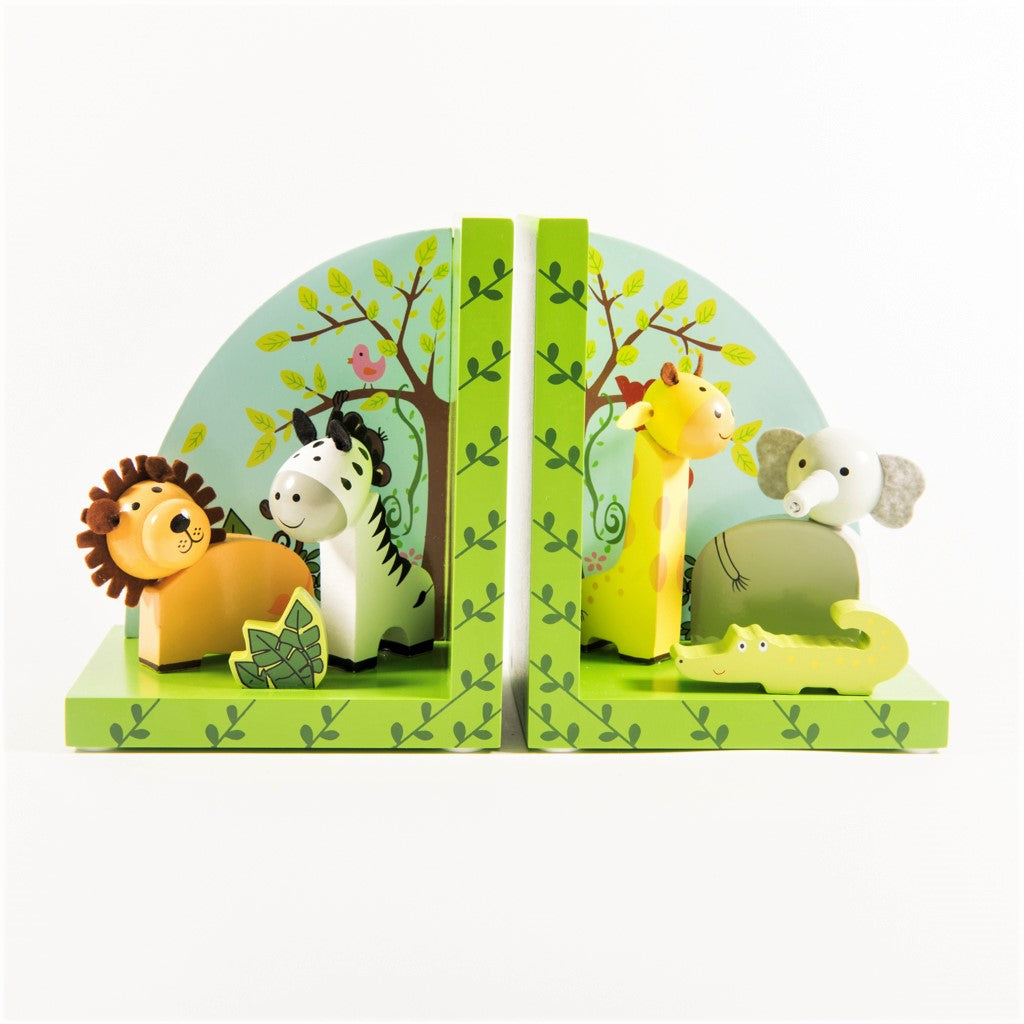 children's wooden safari bookends