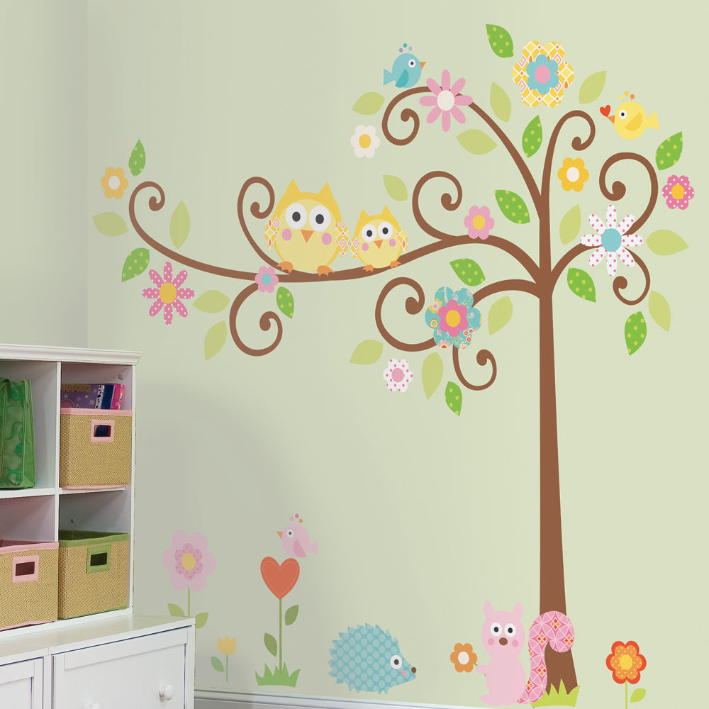 children's scroll tree wall stickers