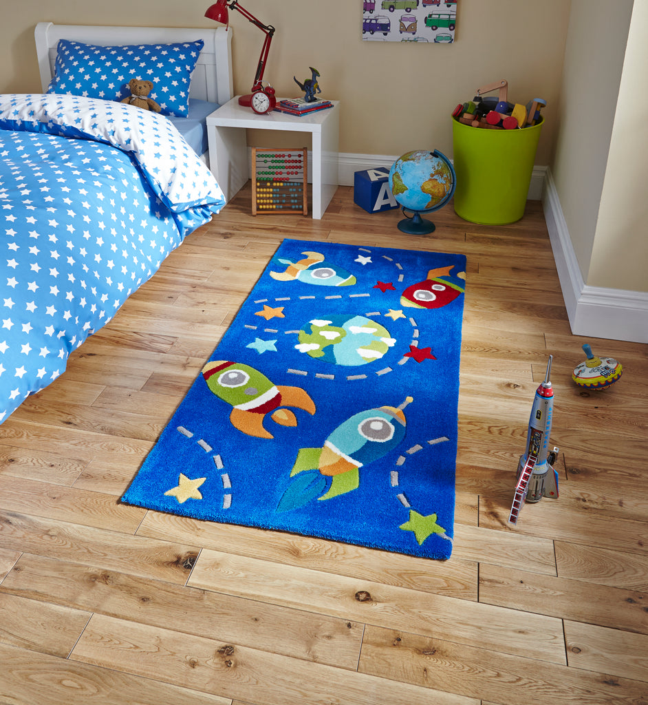 children's space rocket rug