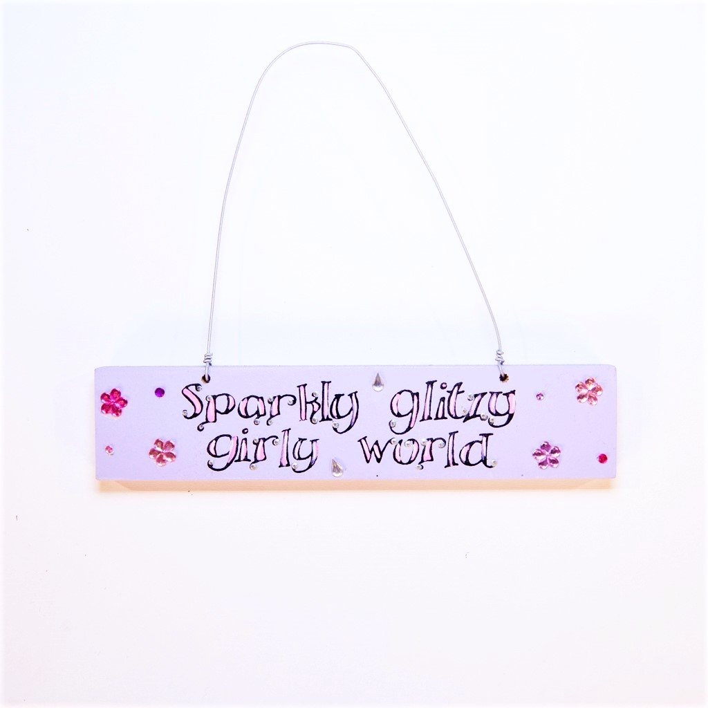 girls sparkly glitzy girly world door plaque
