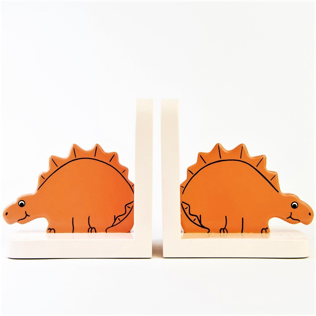 children's wooden stegosaurus dinosaur bookends