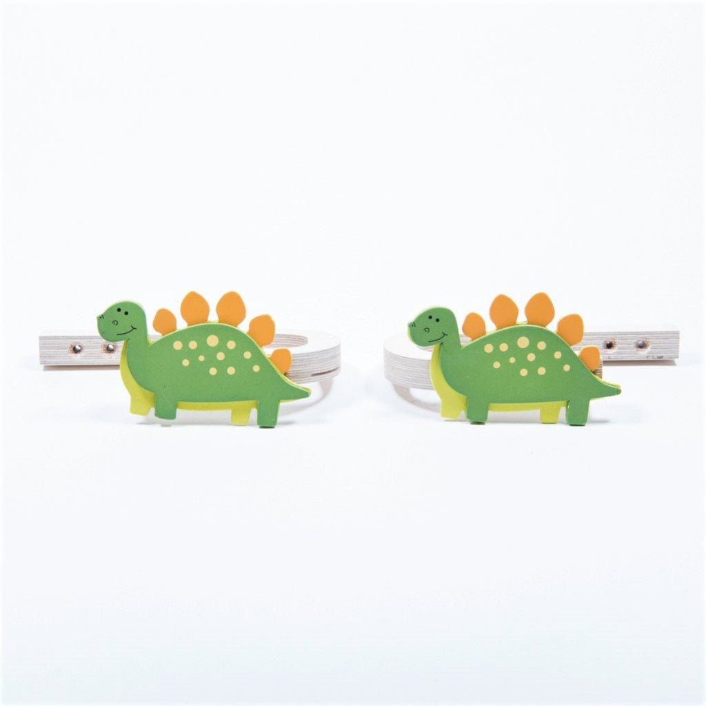 childrens wooden stegosaurus curtain tie backs