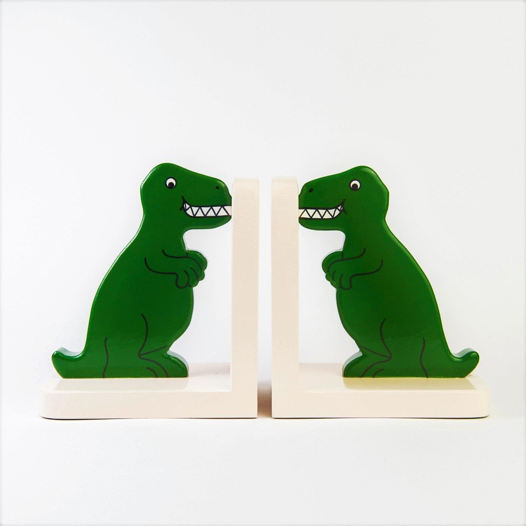 children's wooden dinosaur t-rex bookends