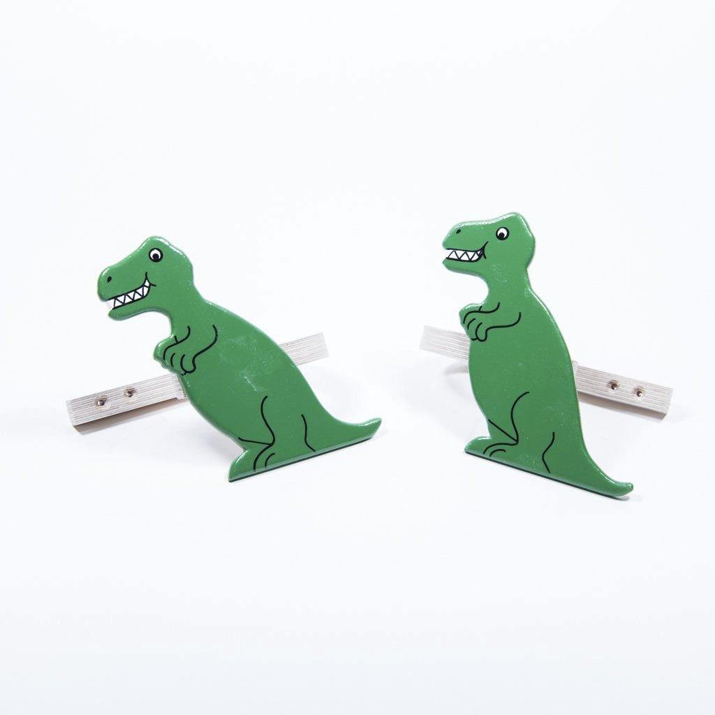 childrens wooden dinosaur t-rex bookends