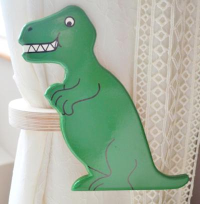 childrens wooden dinoaur t-rex curtain tie backs