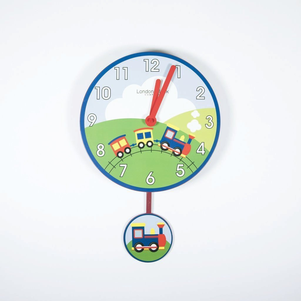 children's train pendulum wall clock