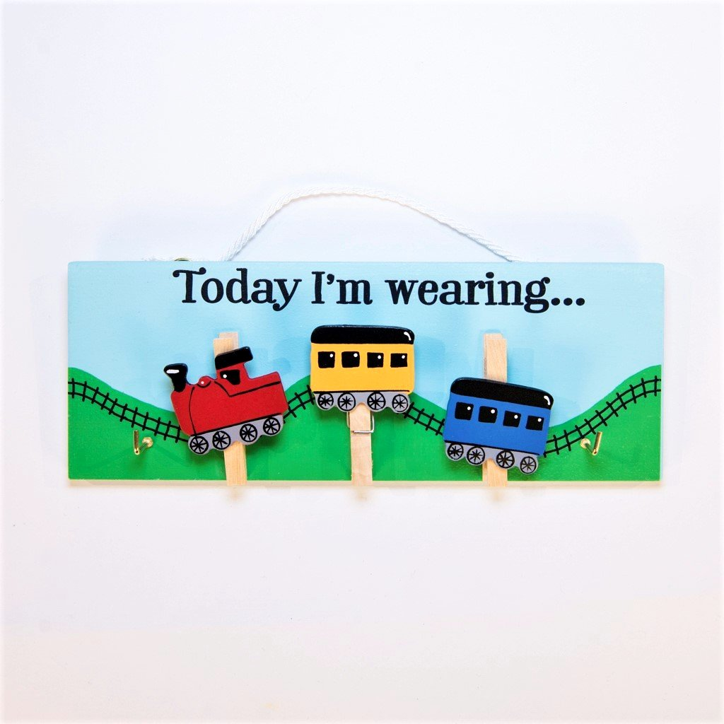 children's educational today i will be wearing trains pegboard