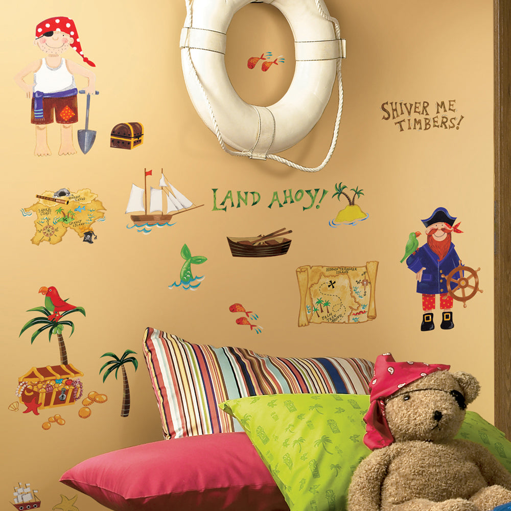 children's pirate and treasure island wall stickers