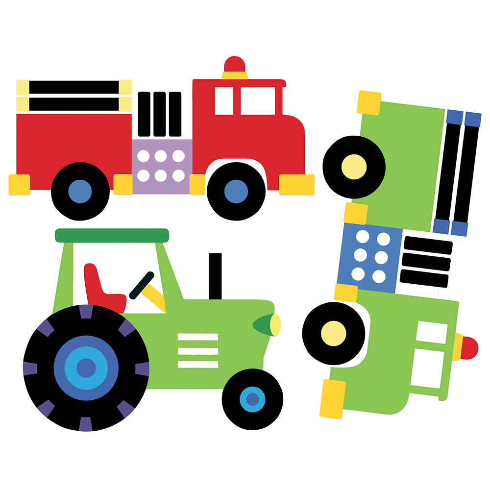 boys trains, trucks and planes wall stickers