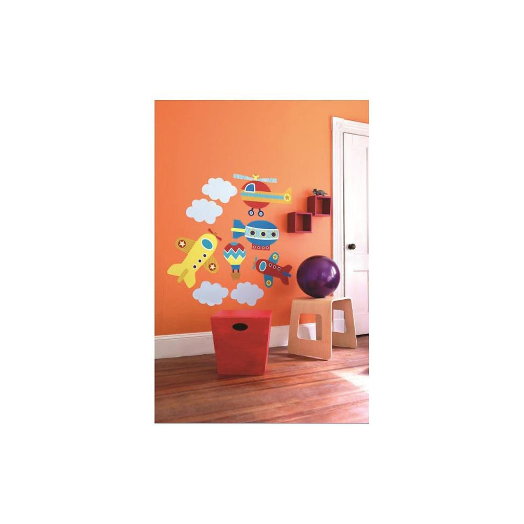 up up and away aeroplane and hot air balloon wall stickers