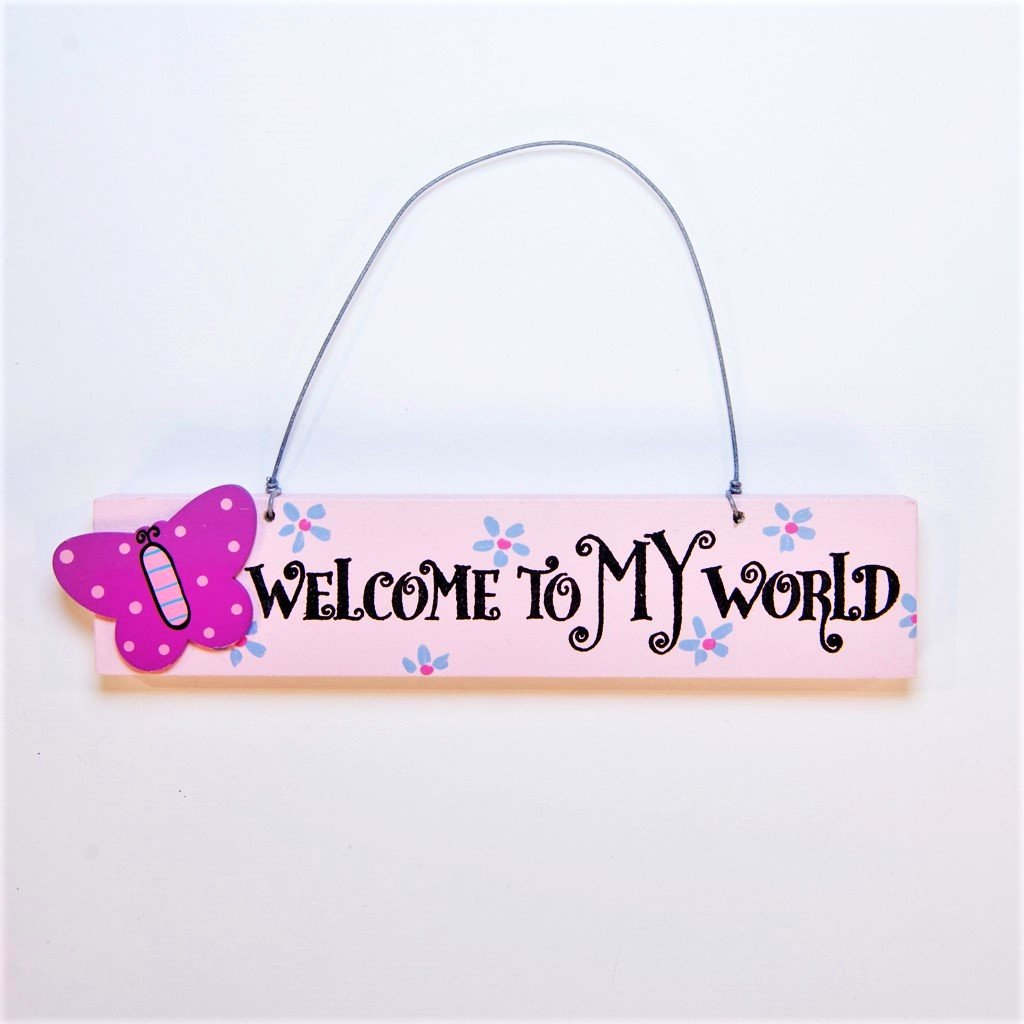 girls welcome to my work butterfly door plaque