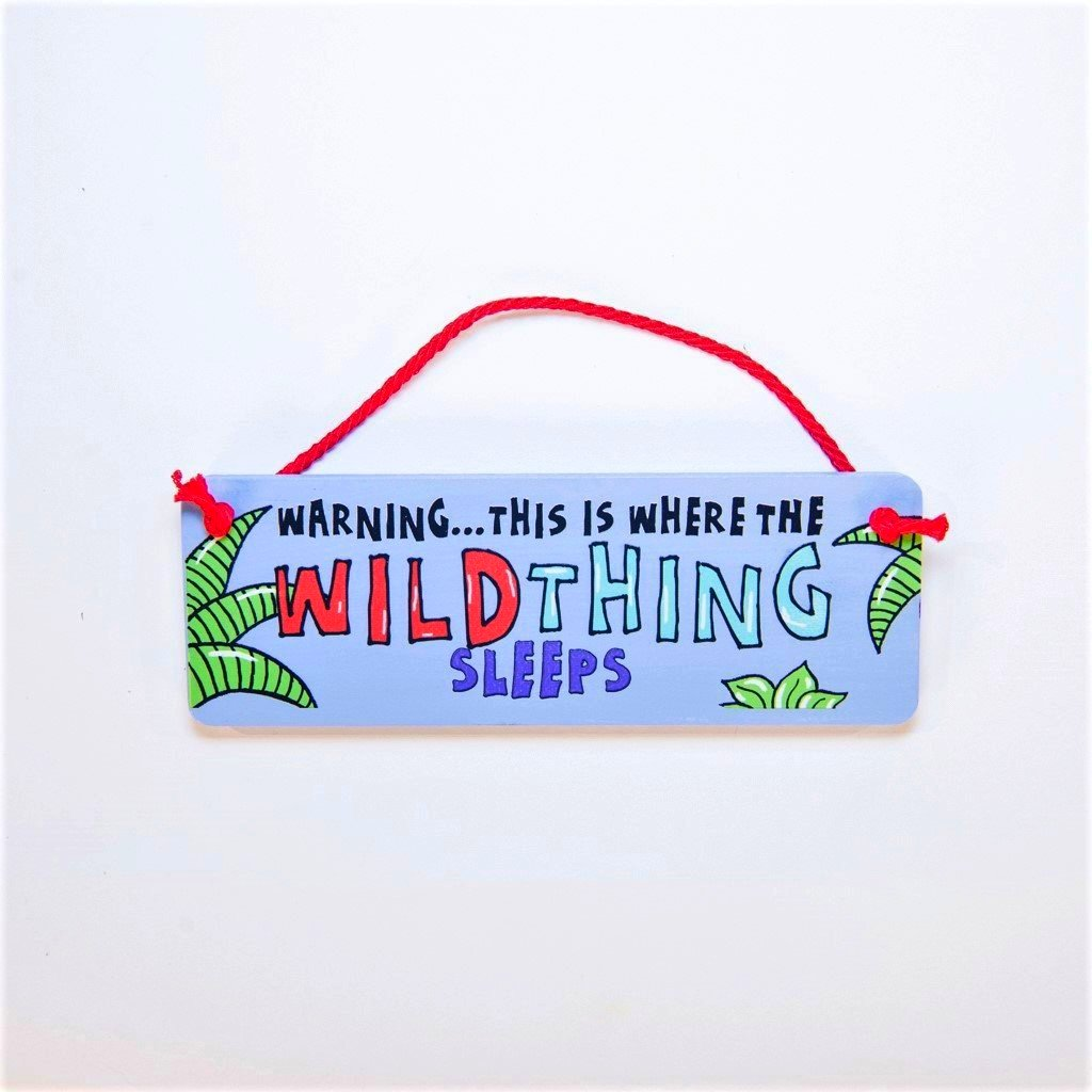 children's wild thing sleep here jungle door plaque